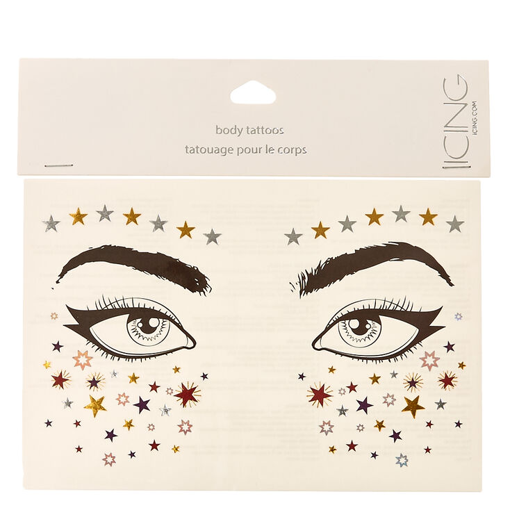 Stars and Fireworks Face Tattoos,
