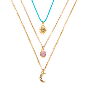 Sun, Moon, and Opal Pendant Necklaces,