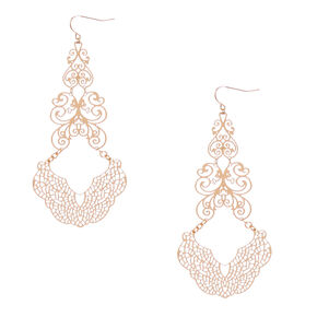 Gold-Tone Filigree Drop Earrings,