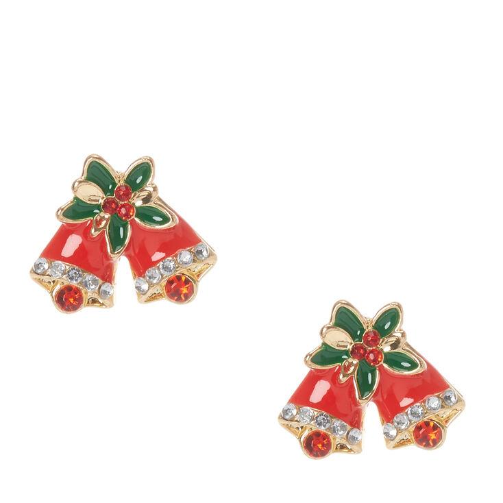 Christmas Holly Bells Stud Earrings,