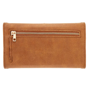Tan Faux Leather Tech Wallet,