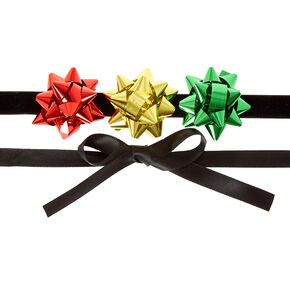 Holiday Gift Bow Ribbon Choker Necklace,