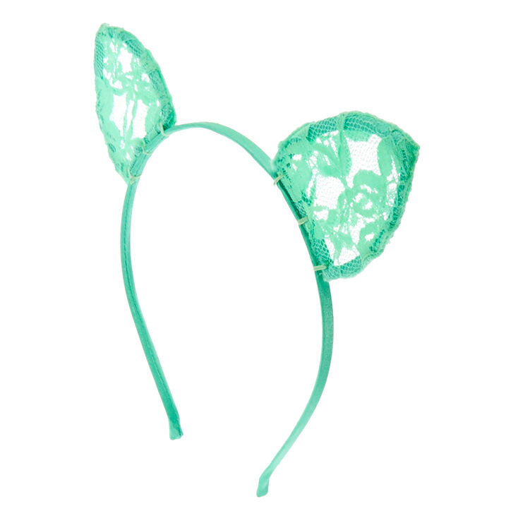 Mint Lace Cat Ears Headband,