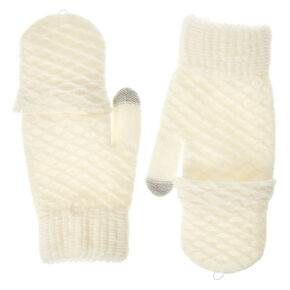 Ivory Textured Touch Screen Fingerless Gloves with Mitten Flap,