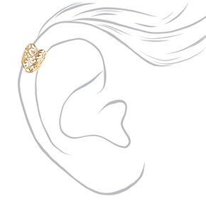 Filigree Gold Toned Heart Ear Cuff,