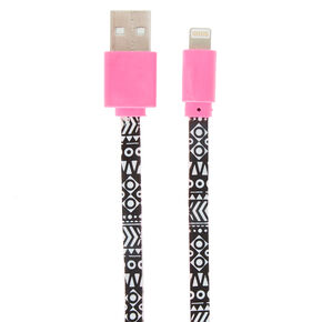 Pink and Black Aztec Print USB Cable,