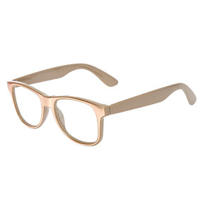 Retro Tan Metallic Fake Glasses,