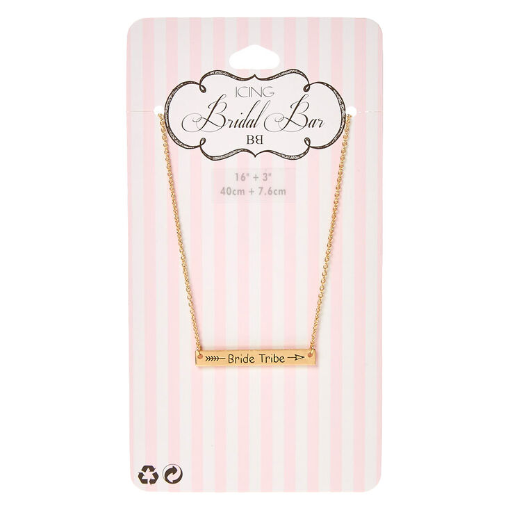 Gold-Tone BRIDE TRIBE Bar Necklace,