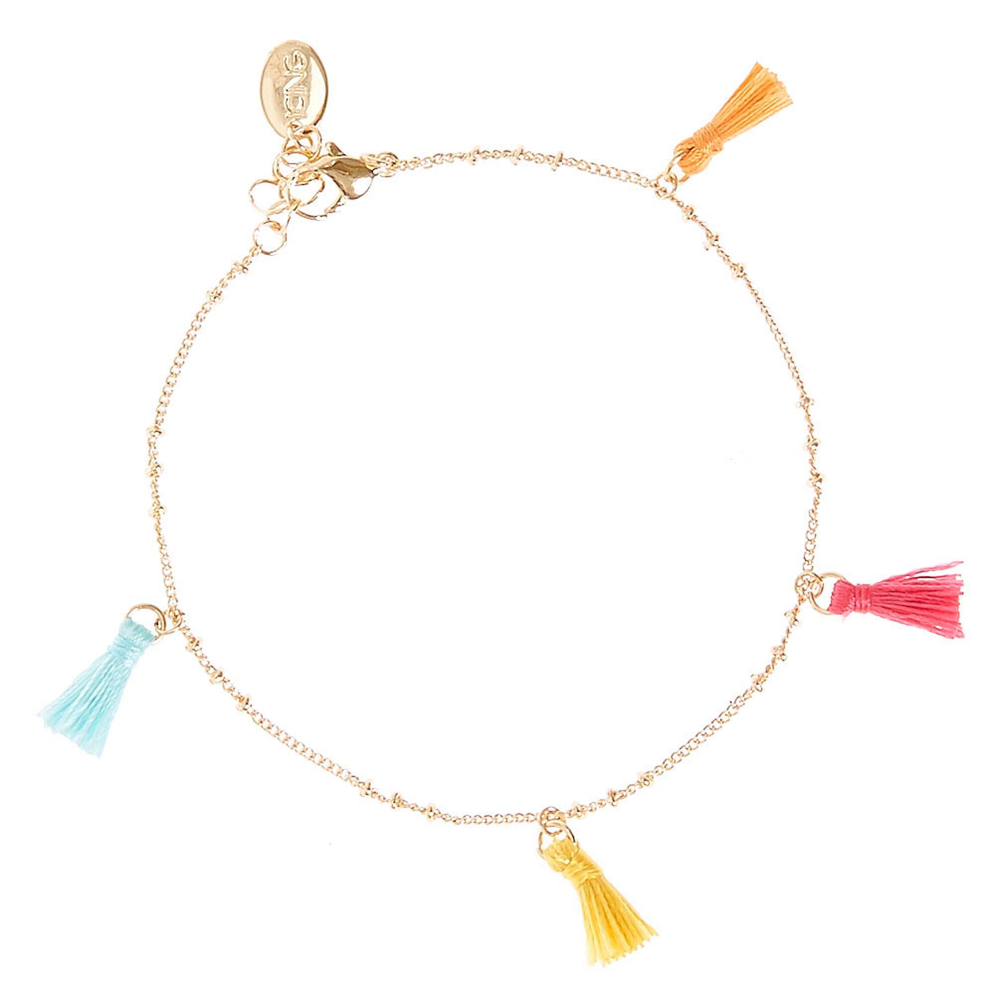Colourful Tassel Gold Tone Ankle Bracelet,