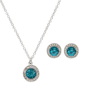 Silver and Round Blue Faux Crystal Stud Earrings and Necklace Set,