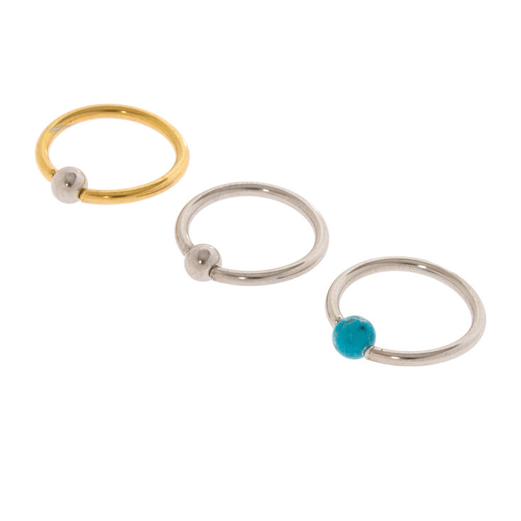 16G Silver, Gold and Turquoise Bead Cartilage Hoop Earrings Set of 3,