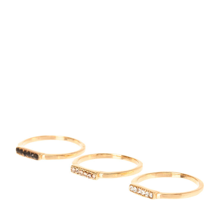 Colored Crystal Studded Gold Midi Rings,