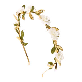White Flower and Leaves Gold Headband,