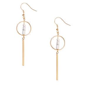 Gold-tone and White Marbled Stone Geometric Bar Drop Earrings,
