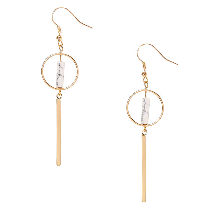 Gold-tone and White Marbled Stone Geometric Bar Drop Earrings,