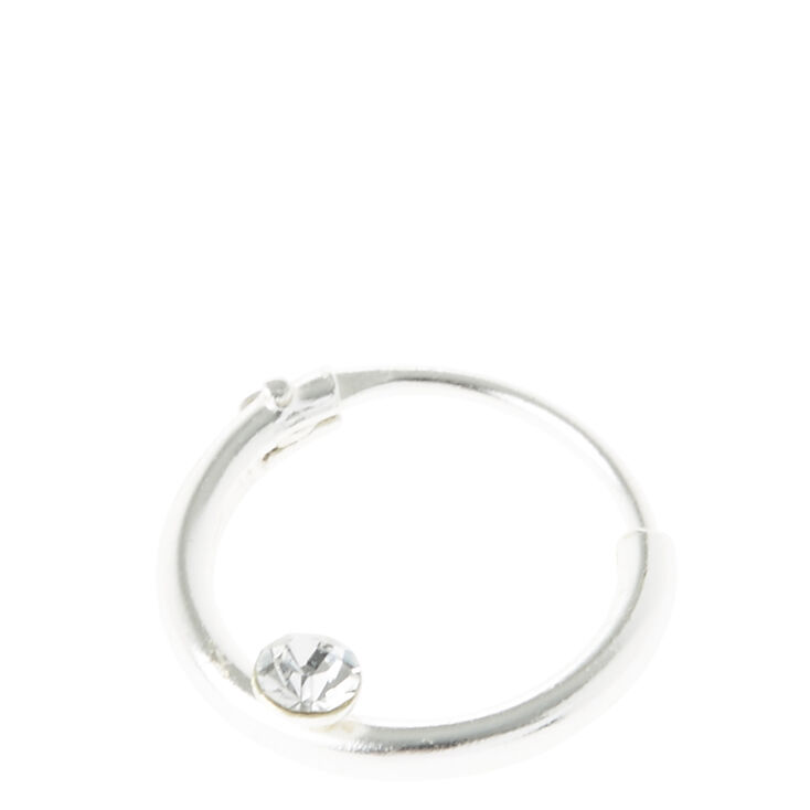 Silver Crystal Endless Hoop Nose Ring,