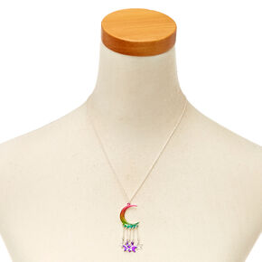 Metallic Rainbow Crescent Moon and Stars Pendant Necklace,