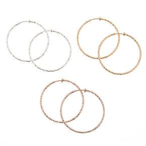 Mixed Metal Clip-On Hoop Earring Set,