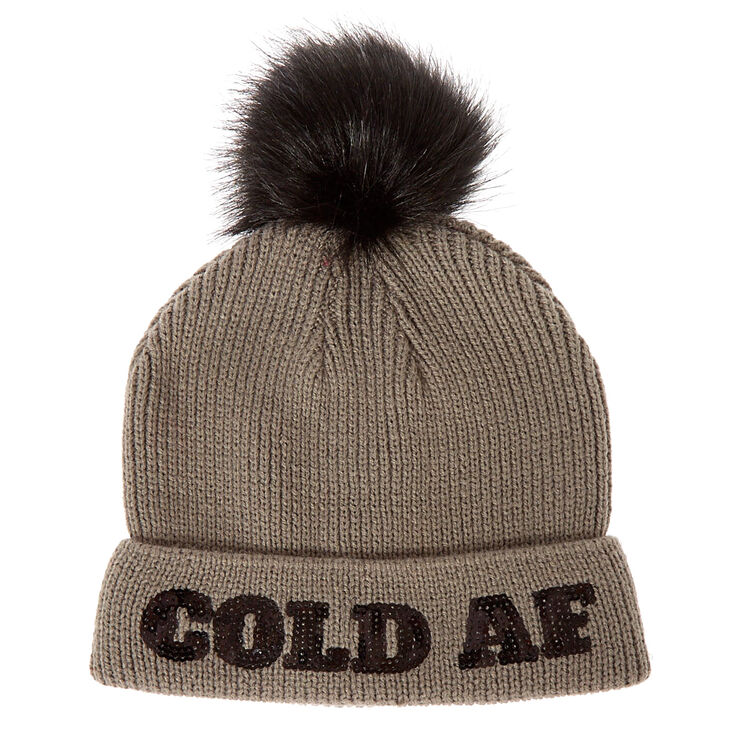 Gray Ribbed Pom Cold AF Beanie Hat,