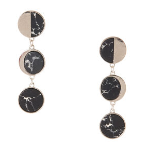 Silver-tone and Black Marbled Circle Drop Earrings,