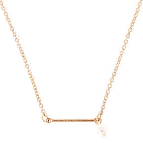 Gold-Tone Bar Pendant Necklace with Pearl Dangle Charm,