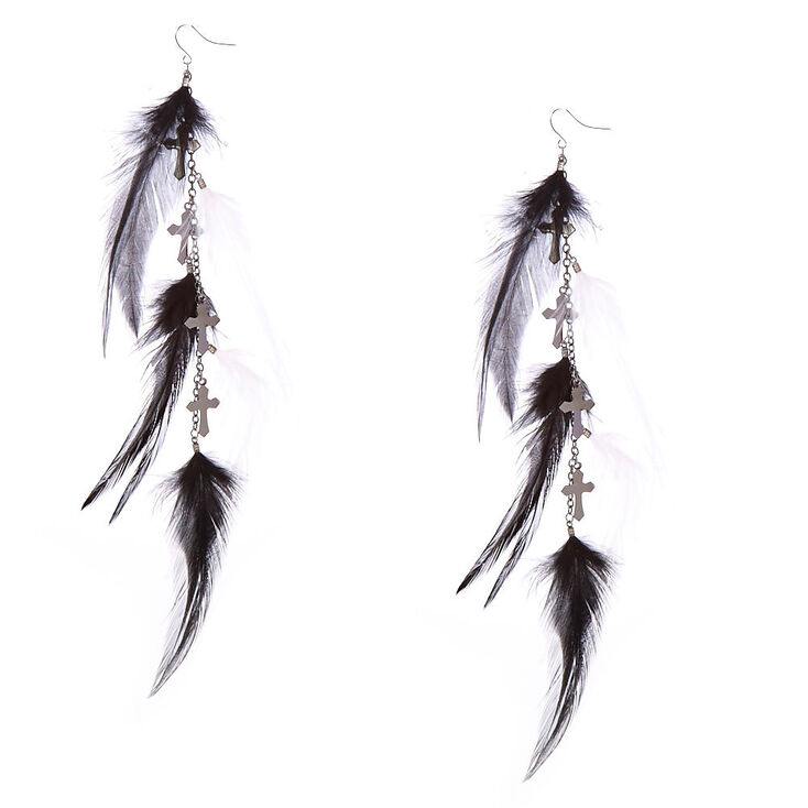 Black and White Cross/Feather Drop Earrings,