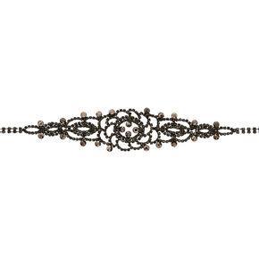 Jet Black Floral Filigree Statement Choker Necklace,