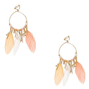 Gold-tone Hoop and Pastel Feather Clip-on Drop Earrings,