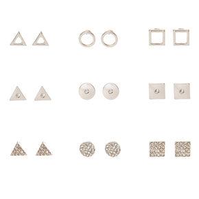 Silver-tone Geometric Stud Earrings,
