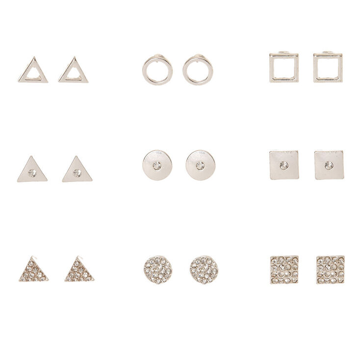 Silver-tone Geometric Stud Earrings,