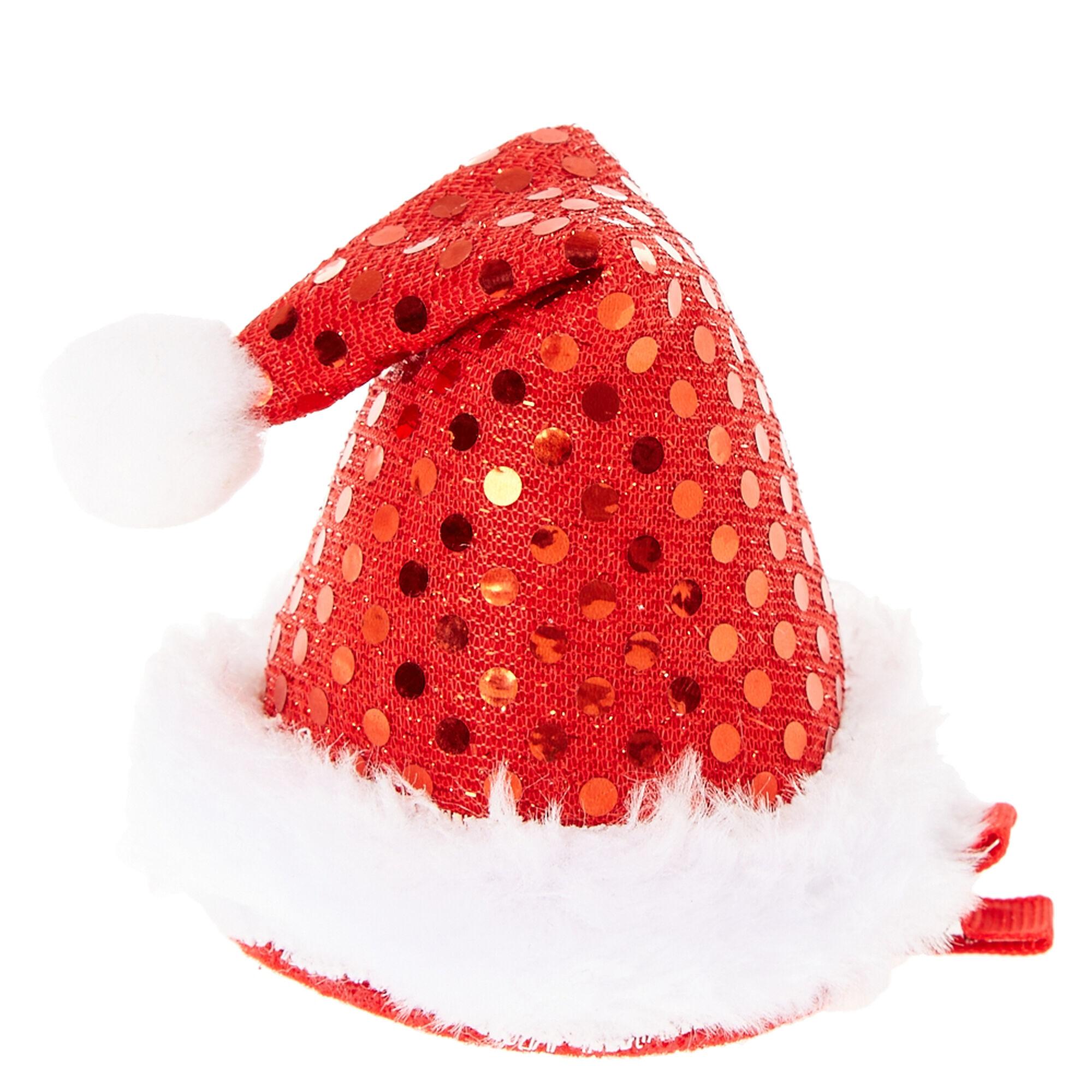 Mini Sequin Santa Hat Hair Clip  Claires US