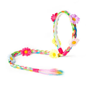 Rainbow Faux Hair Braid Headband with Flowers,