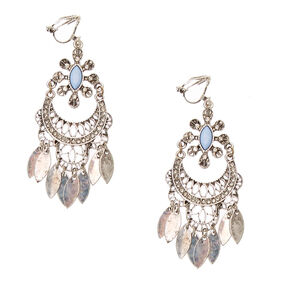 Antique Silver Filigree Clip-On Drop Earrings,