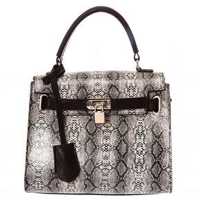 Black Snake Skin Handbag,