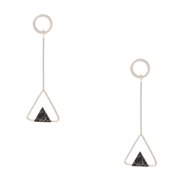 Silver-tone and Black Marbled Stone Triangular Drop Earrings,