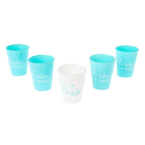 5 Pack Mint Blue Bachelorette Shot Glass Set,