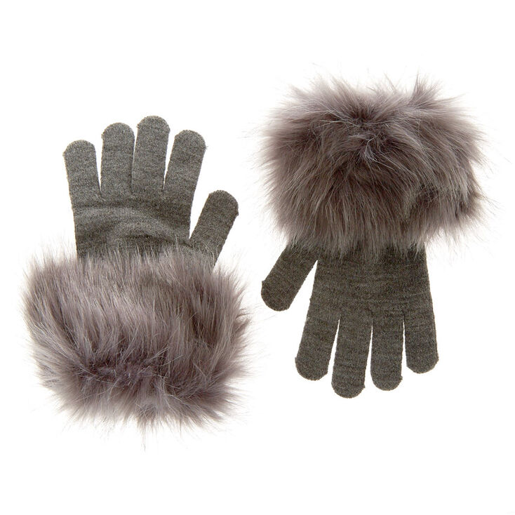 Gray Faux Fur Gloves,