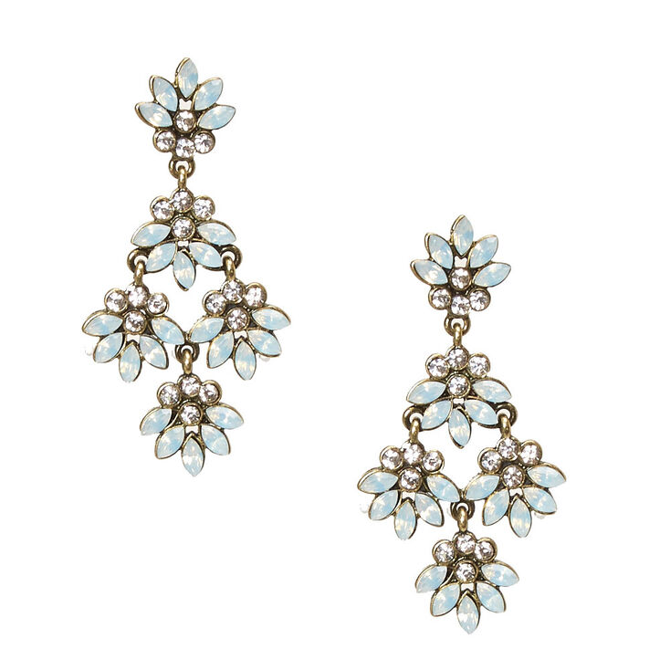 Antique Gold-tone Floral Frosted Crystal Cluster Drop Earrings,
