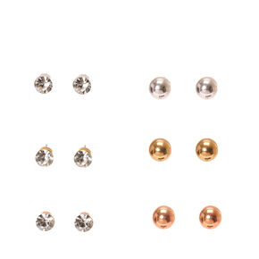 Mixed Metal Ball and Round Faux Crystal Stud Earrings,