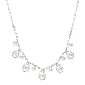 Pearl and Crystals Chandelier Necklace,