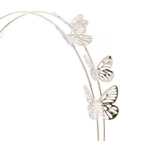 Silver Double Row Butterfly Headband,