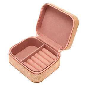 """Blush Pink """"V"""" Initial Jewelry Case,"""