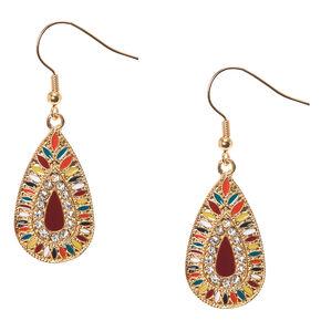Colorful Gold-tone Teardrop Medallion Drop Earrings,