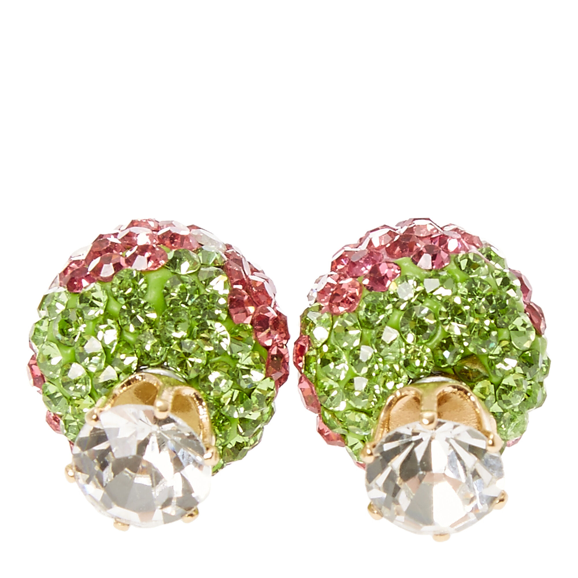 Bedazzled Strawberries Front And Back Earrings,