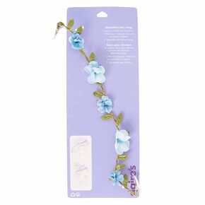 Blue Flower and Gold Chain Decorative Hair Swag,