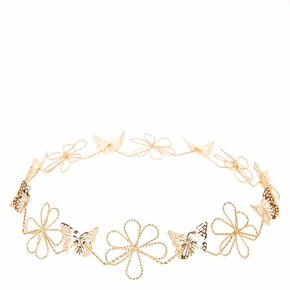 Gold Wire Flower and Butterflies Hair Garland,