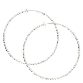 Silver Textured Spring Clip Hoop Earrings,