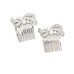 Pavé Crystal Swirl and Pearl Hair Combs Set of 2,