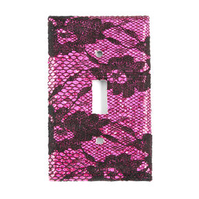 Fuchsia Glitter and Black Floral Lace Floral Lace Switch Plate Cover,