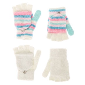 Kids 2 Pack Fuzzy Fingerless Gloves with Mitten Flap,